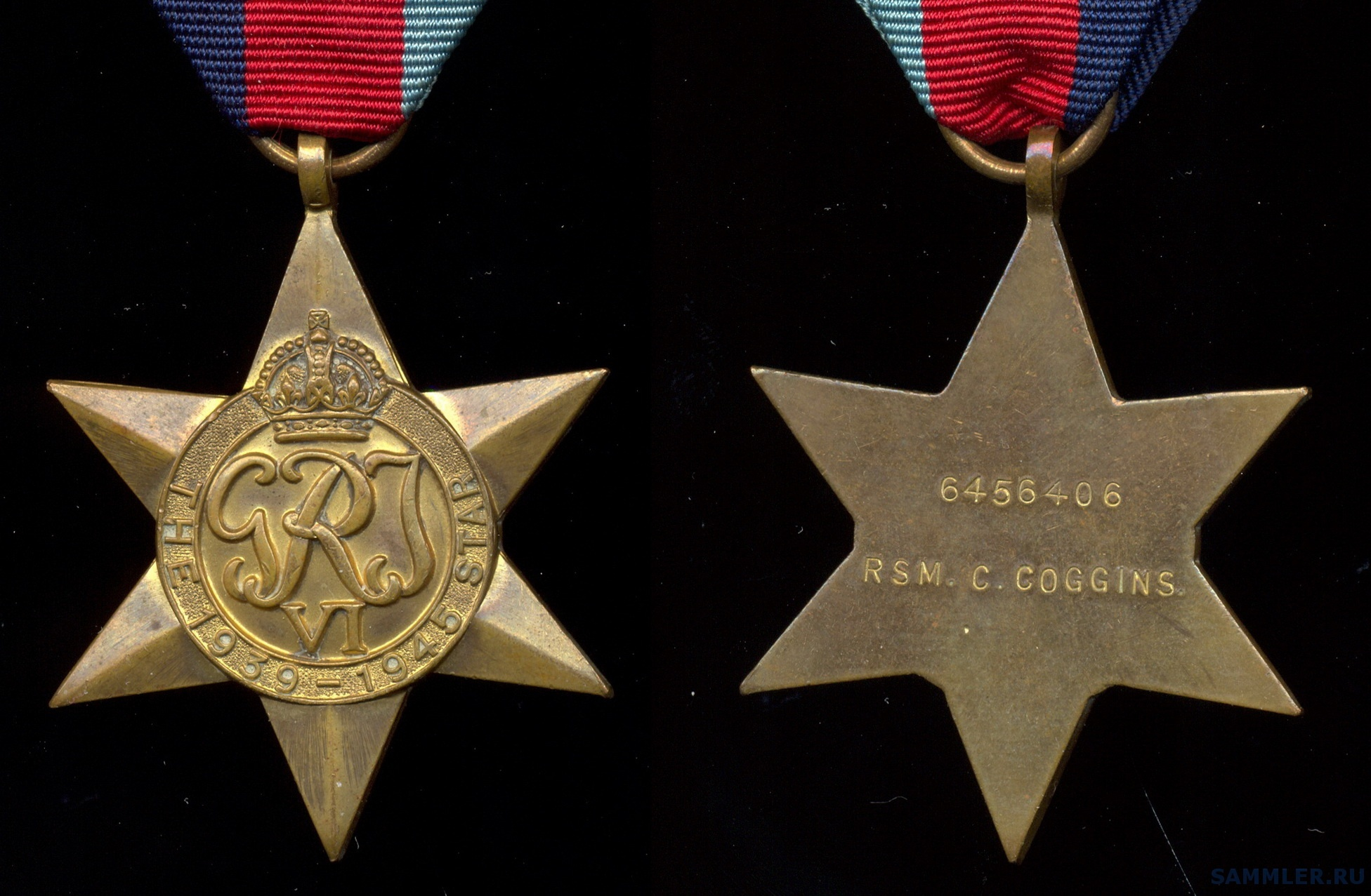 1939 - 1945 Star to 6456406 RSM. C. COGGINS (gr. of 2 with KGVI Reg.Army LSGC Medal).jpg