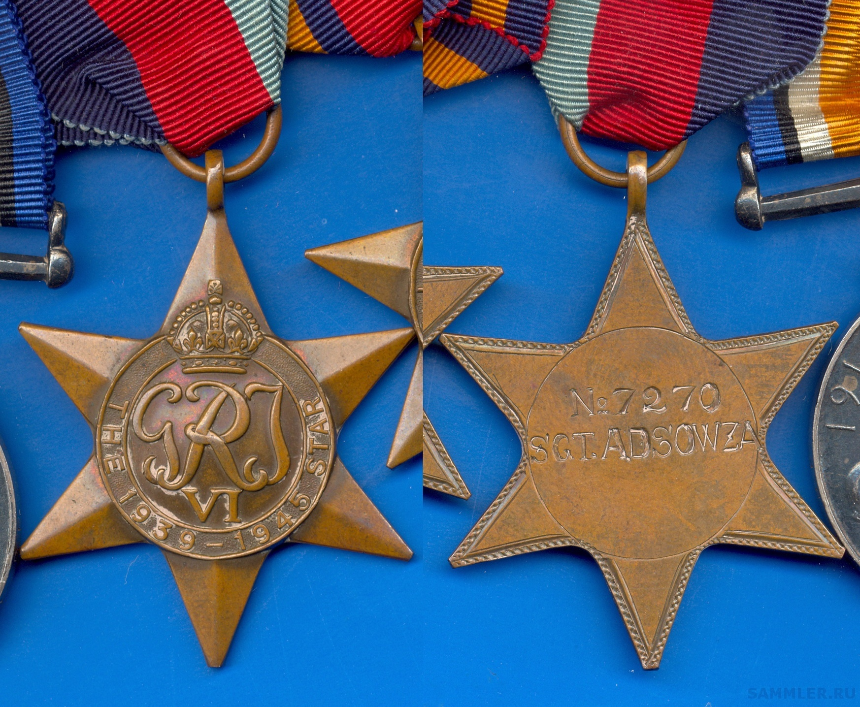 177. 1939-45 Star to No. 7270 SGT. A. D'SOWZA.jpg