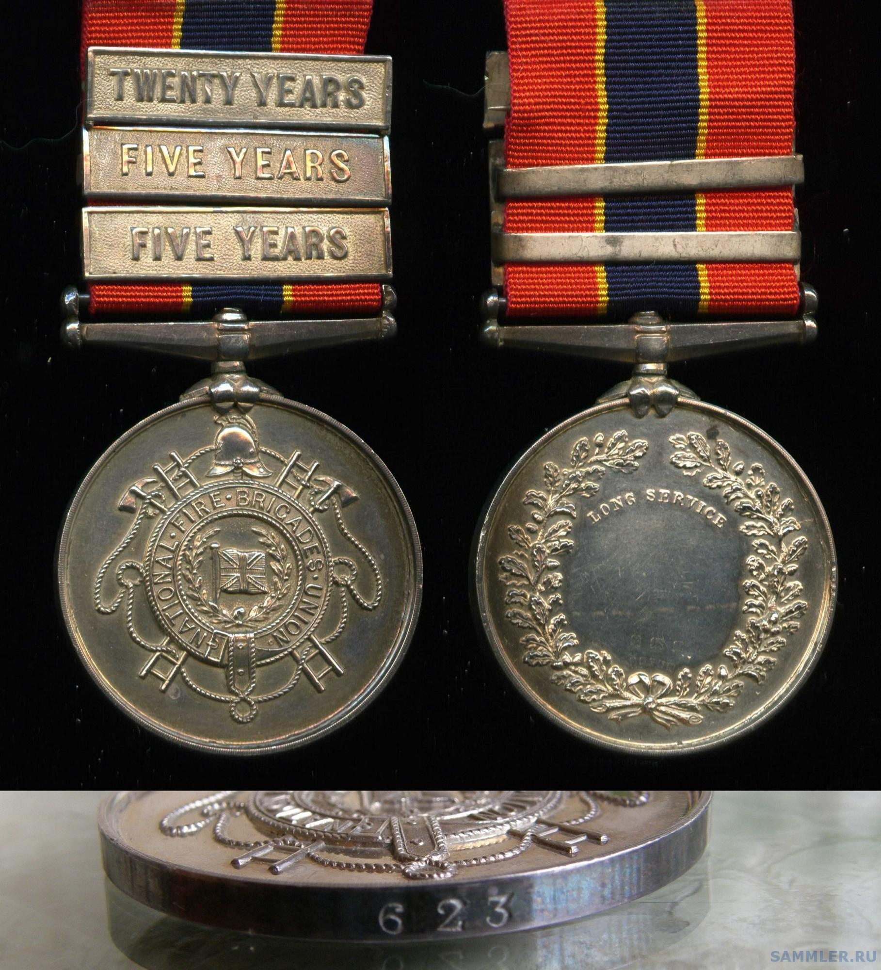 National Fire Brigades Union Medal to Fireman William Roberts, Northamptonshire Fire Brigade .jpg