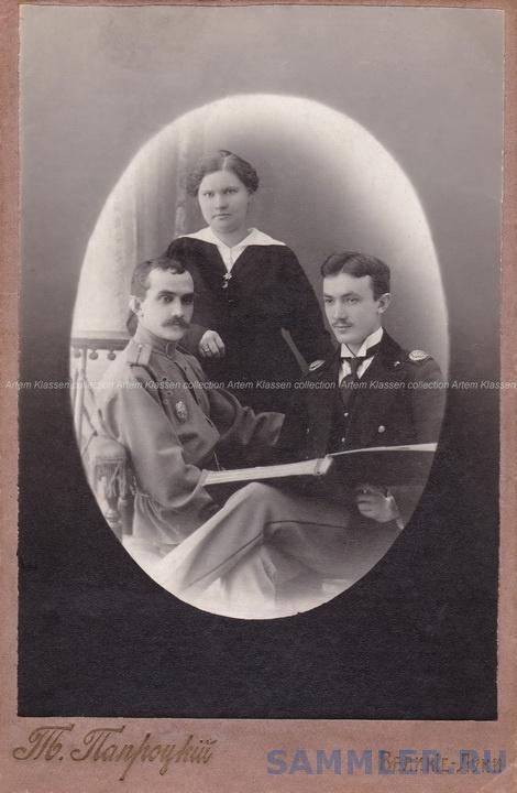Великие Луки, фот.Т.Папроцкого, портрет прапорщика, студента и дамы, 1914-1917 гг., кабинетный формат.jpg